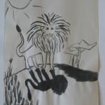 leeuw, getekend met inkt