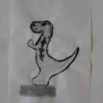 dinosaurus, getekend met inkt