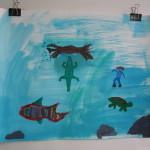 onder water, gouache