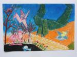 'origami sunlight', een tekening met kleurconté